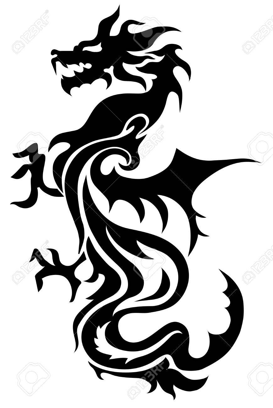 Dragon China Zodiac Symbols Tattoo Royalty Free Cliparts Vectors