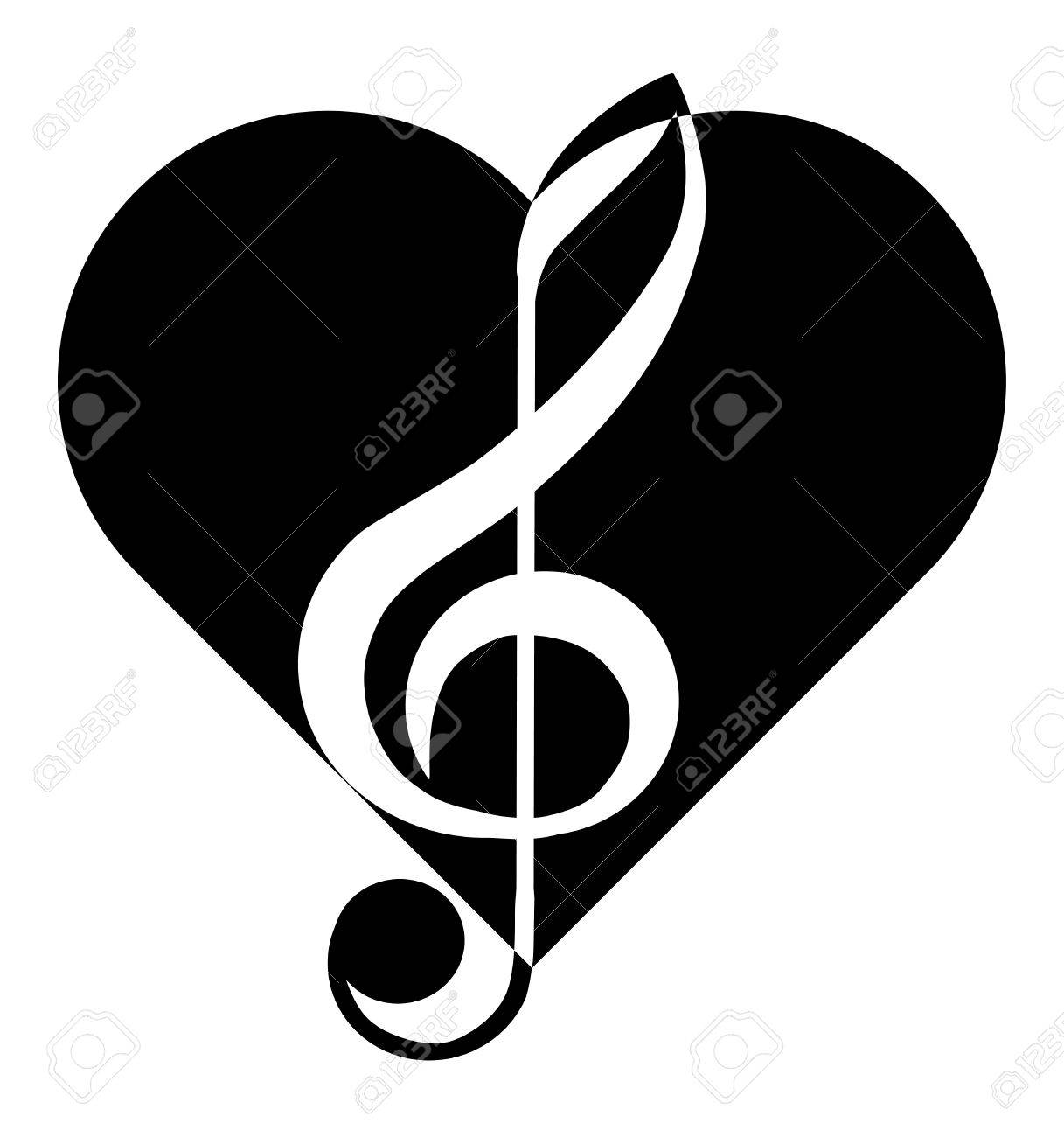 Music Treble Clef Heart Abstraction Tattoo Royalty Free