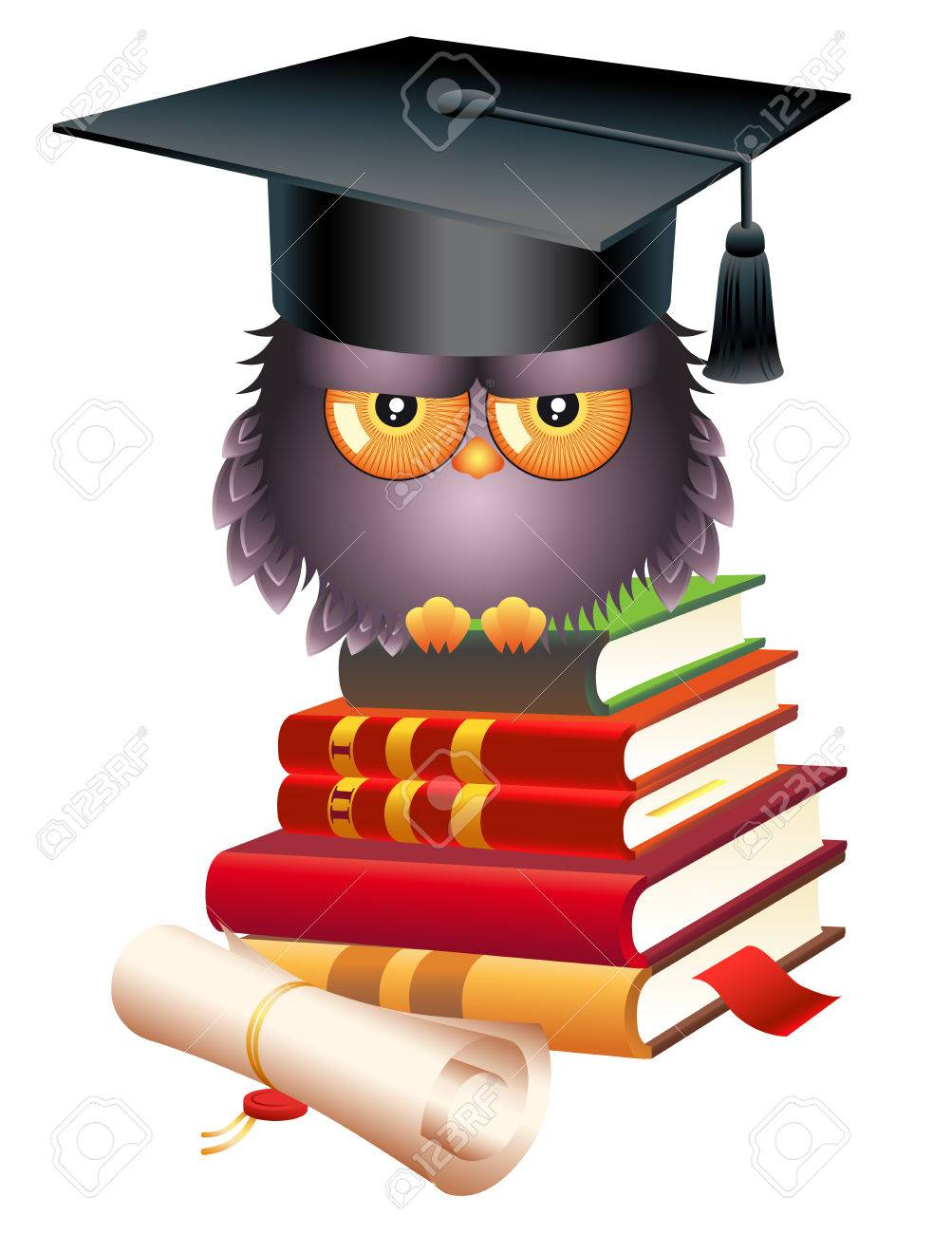 Educational Concept School Wise Owl Books And Graduate Cap Stock Vector