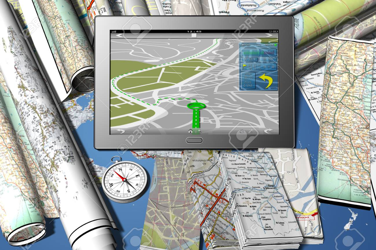 Tablet with navigator application  Maps and road maps