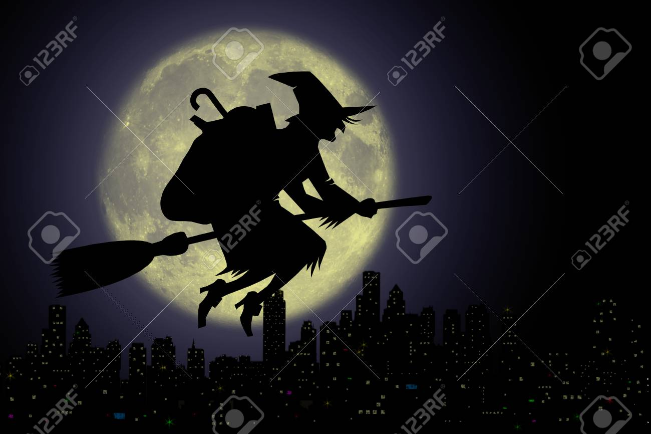 Epiphany, Befana with broom in the night. - 85366700