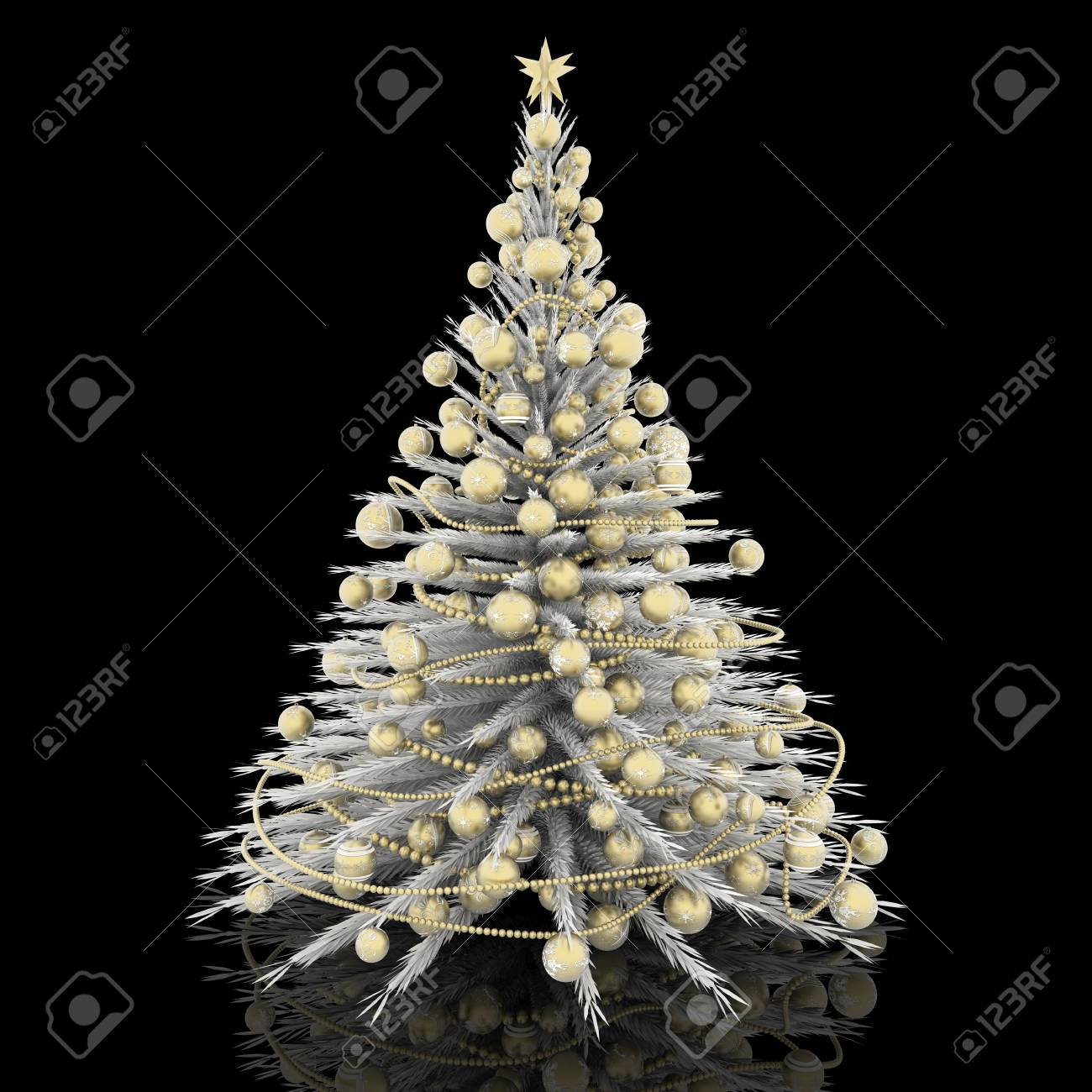 christmas decoration white christmas tree with gold decorations stock photo 89033605