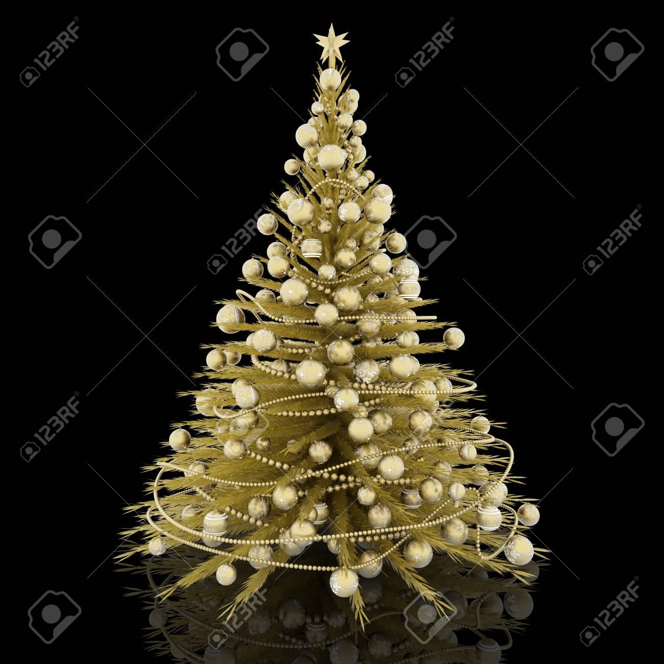 Decorazioni Natalizie Dorate.Decorazione Natalizia Albero Di Natale Dorato Con Decorazioni