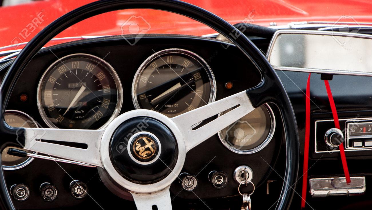 Particular Steering Wheel And Dashboard Alfa Romeo 60 Years Stock Photo 39215090