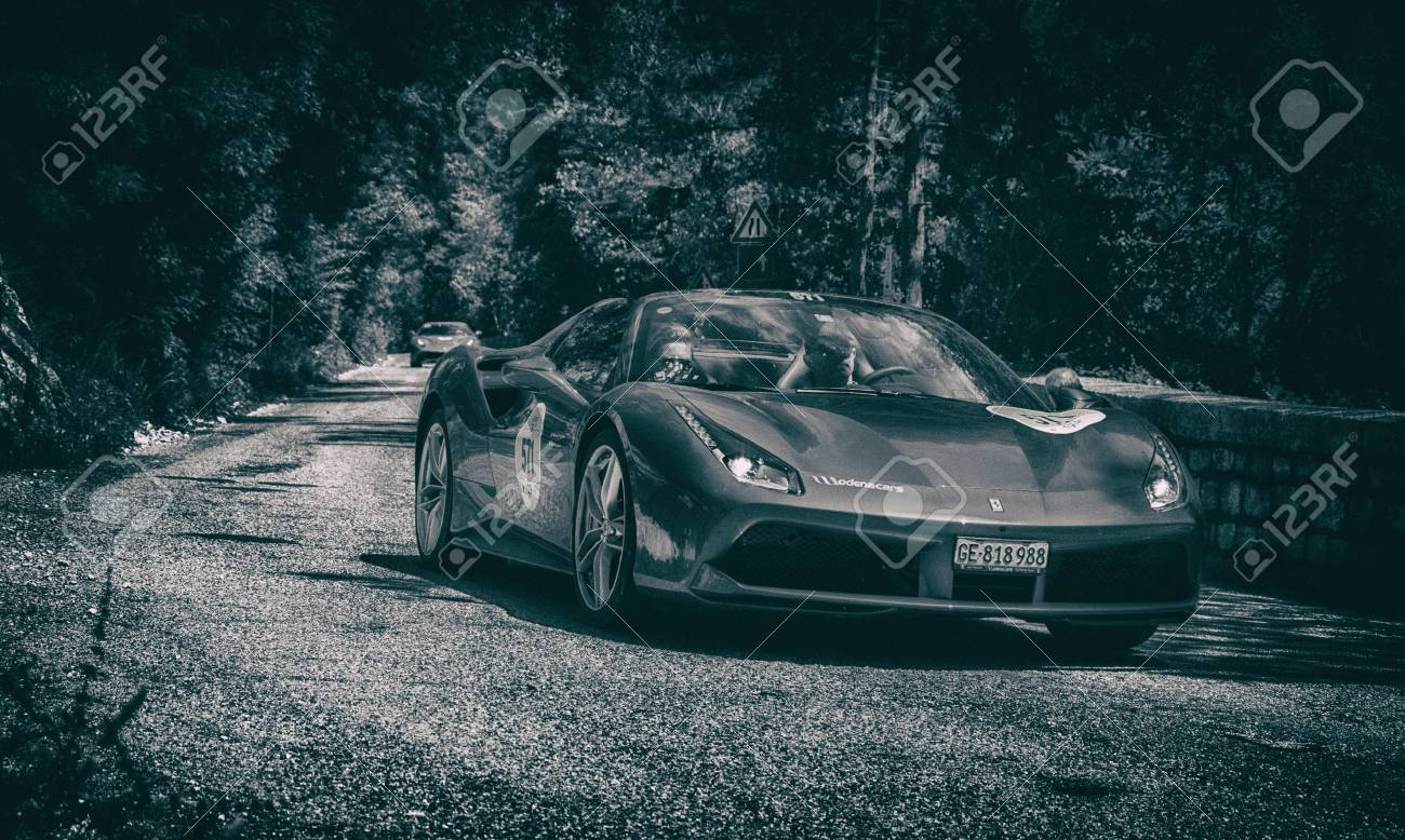 Gola Del Furlo Italy Ferrari 488 Spider 2015 On An Old Racing Stock Photo Picture And Royalty Free Image Image 90643325