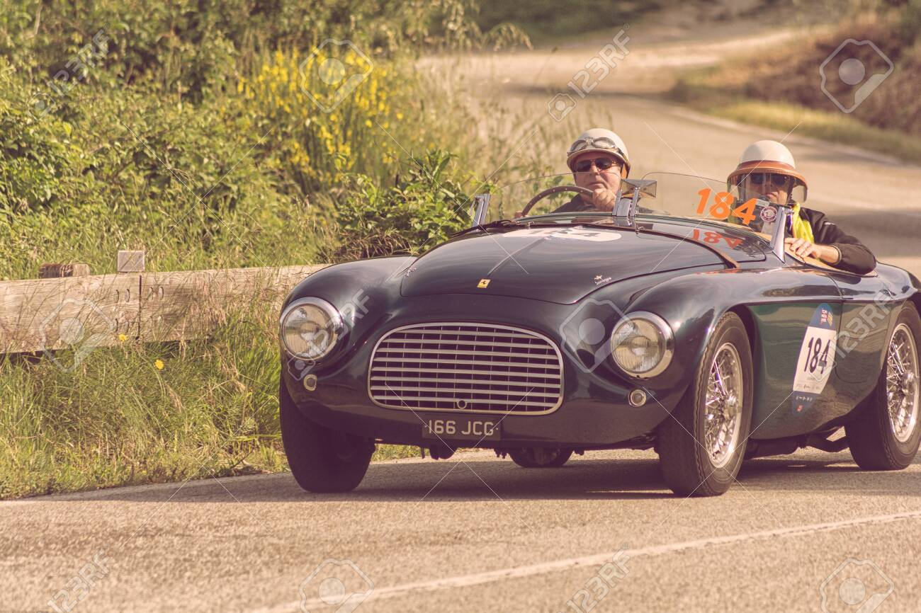 FERRARI 166 MM SPIDER TOURING 1950 on an old racing car in rally..
