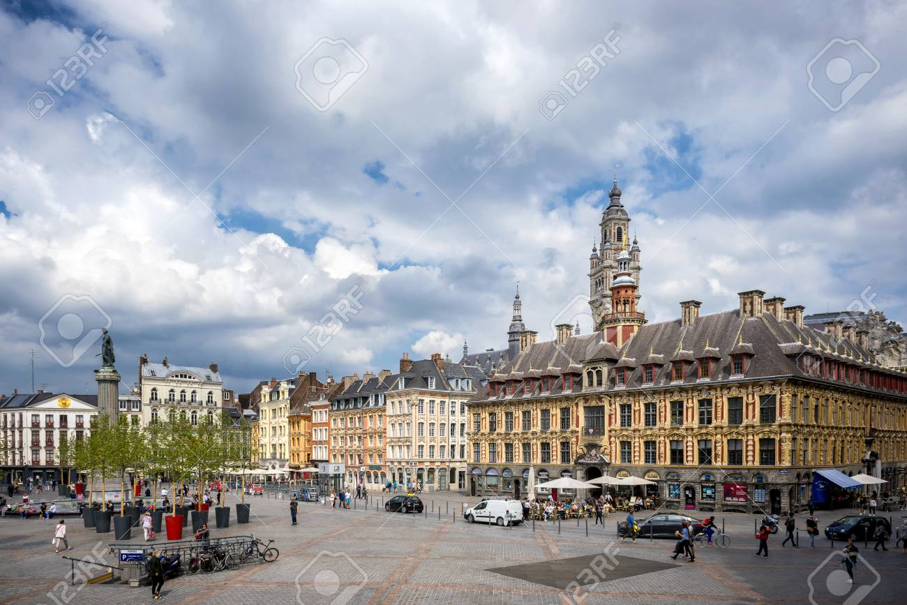 LILLE: Place du General de Gaulle square in front of the old Stock Exchange building in Lille, France - 106038770