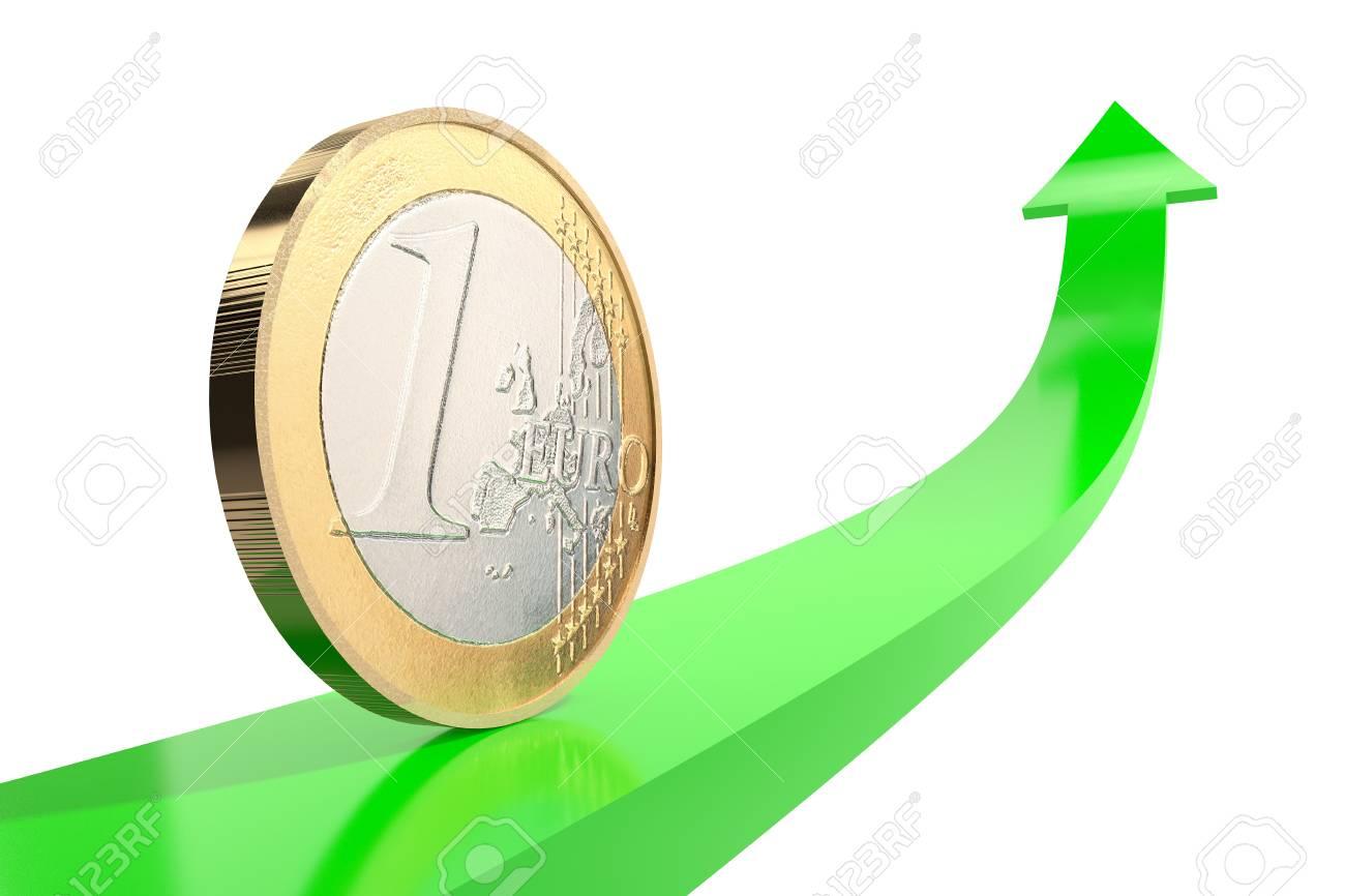 Citaten Geld Geldt : 3d illustratie: koper nikkel één euro muntstuk op groene pijl omhoog