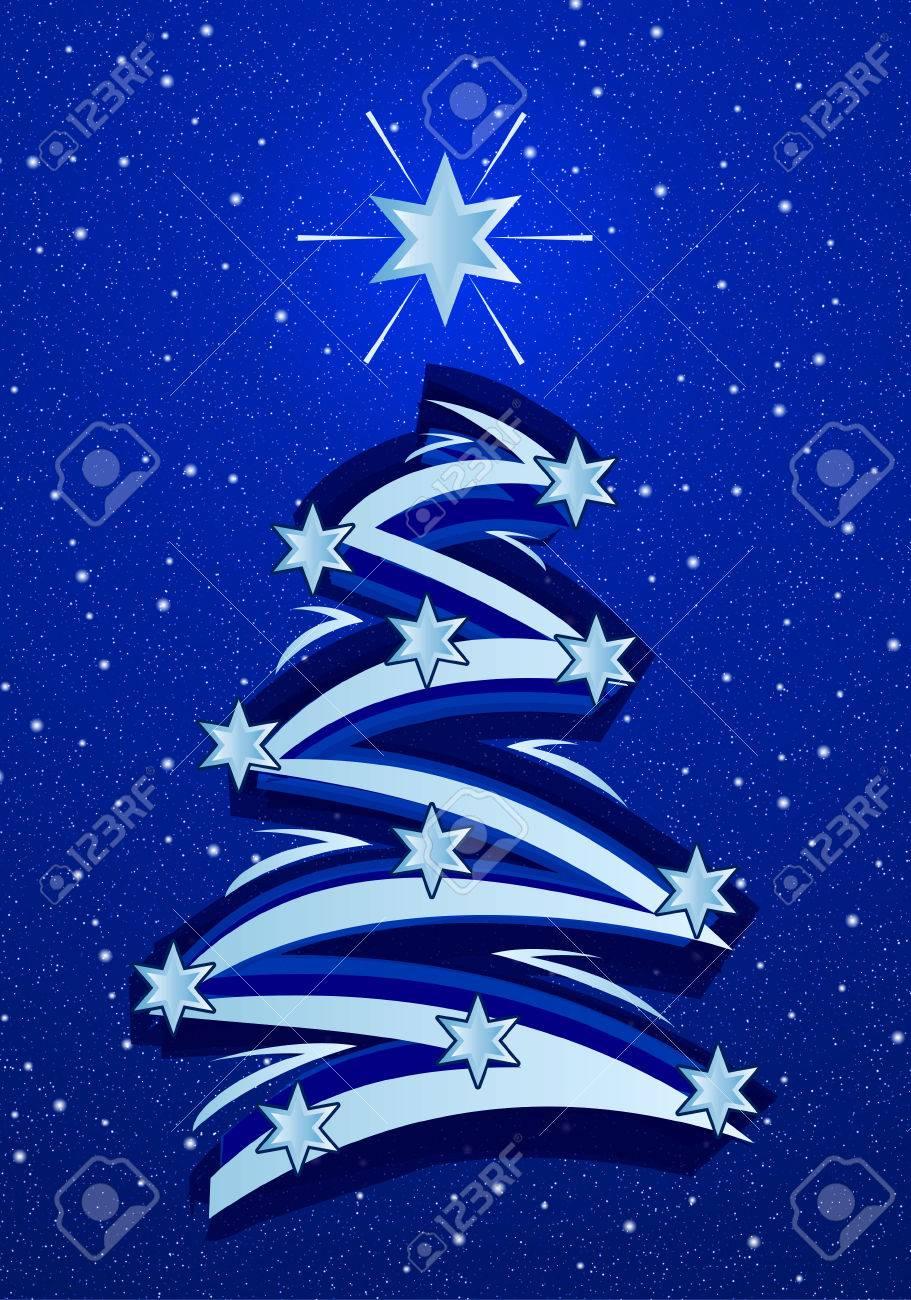 Stylized christmas tree illustration - On blue snowfall background Stock Illustration - 1703632
