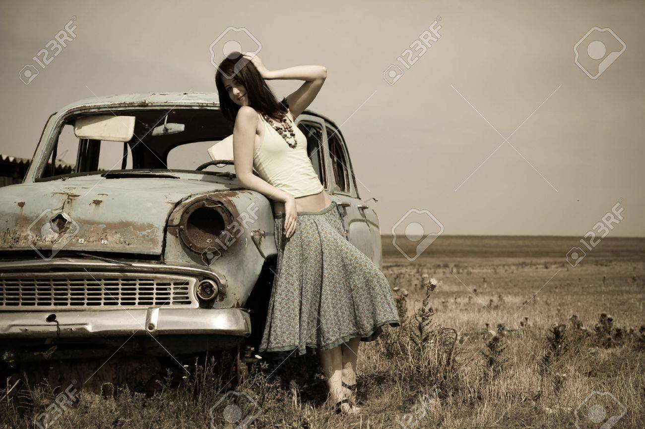 Vintage style photography  Girl Near Old Car, Photo In Vintage Style Stock Photo, Picture And ...