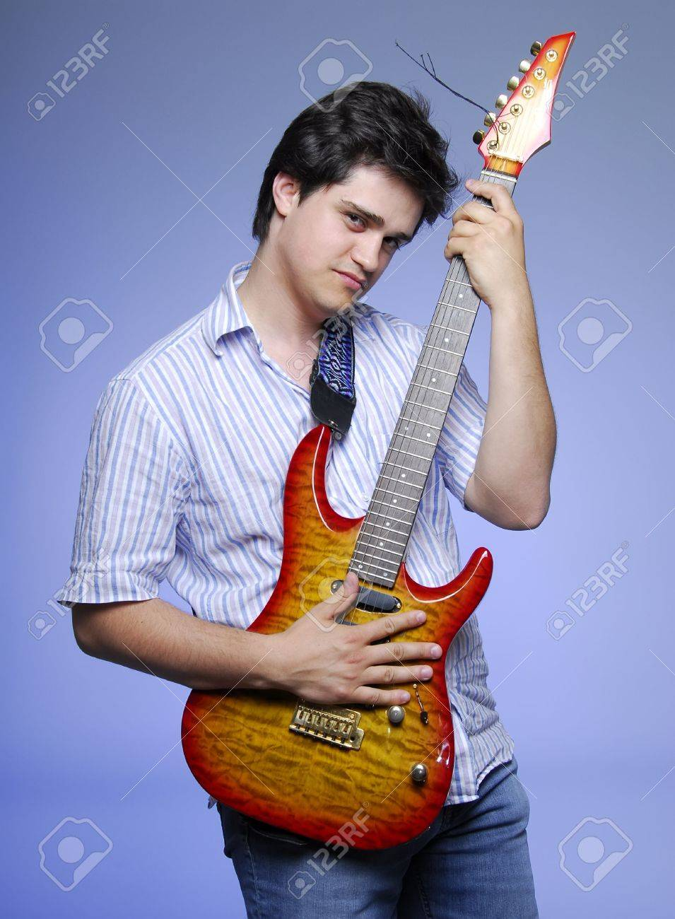 style boy with electro guitar Stock Photo - 5960033