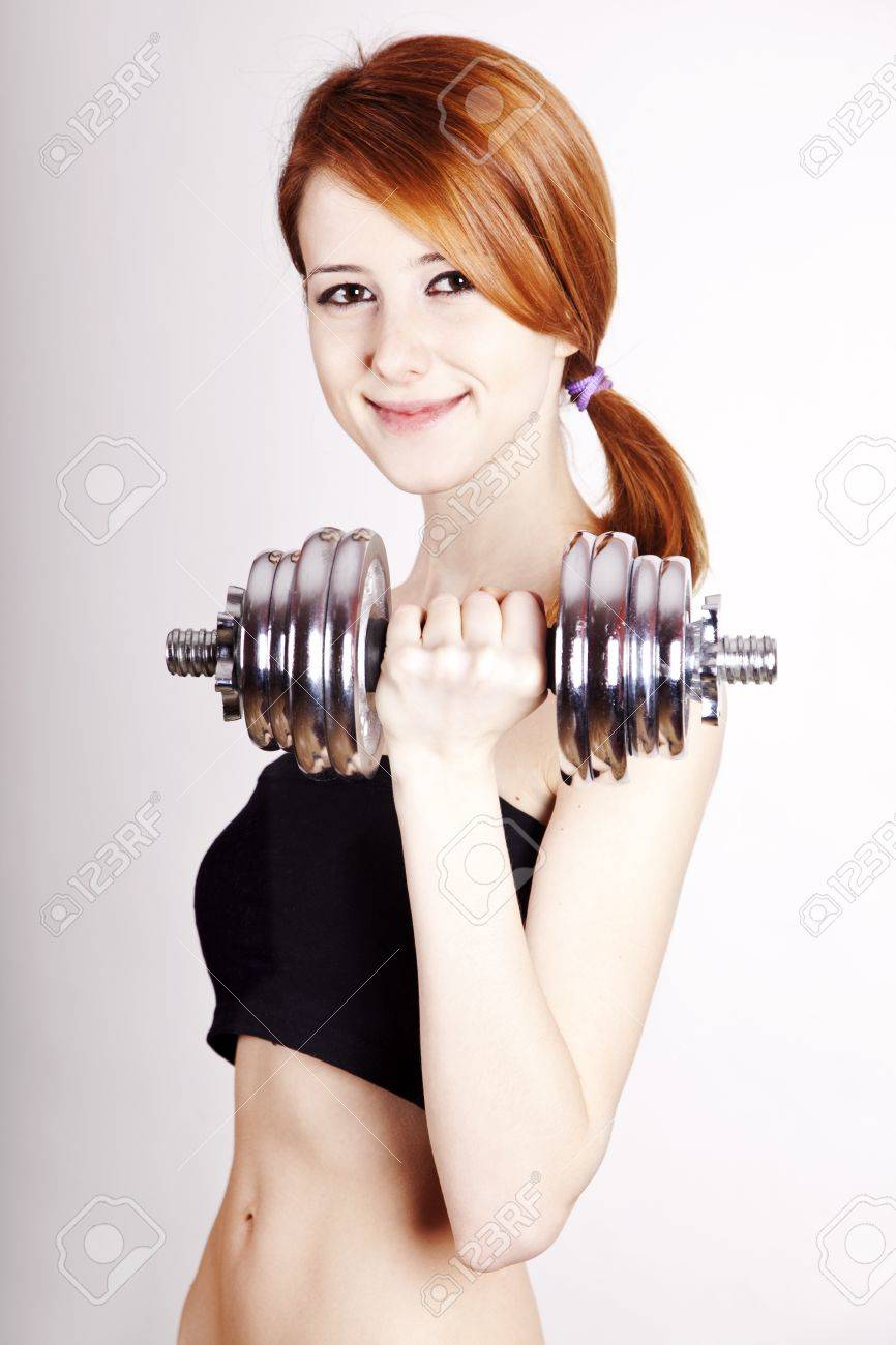 Redhead working out