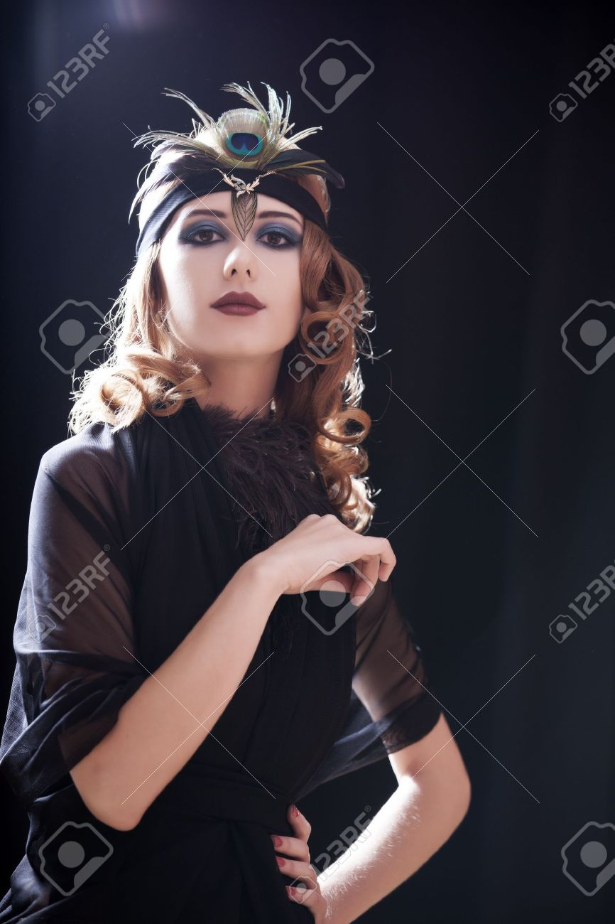 Redhead girl in 20-s style. Stock Photo - 15762809