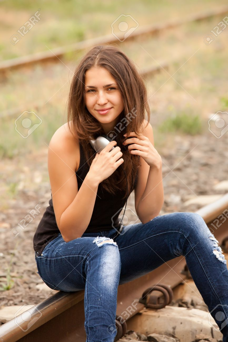 Stock Photo Teen Girl With Headphones At Railways