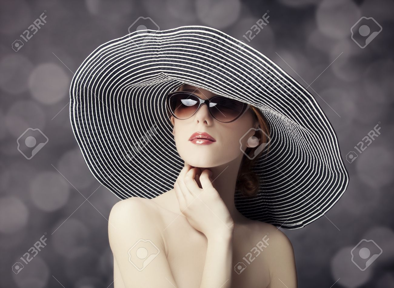 Fashion women in wide hat Stock Photo - 18598084