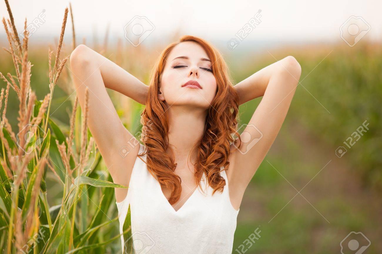Redhead girl in corn field - 21279372