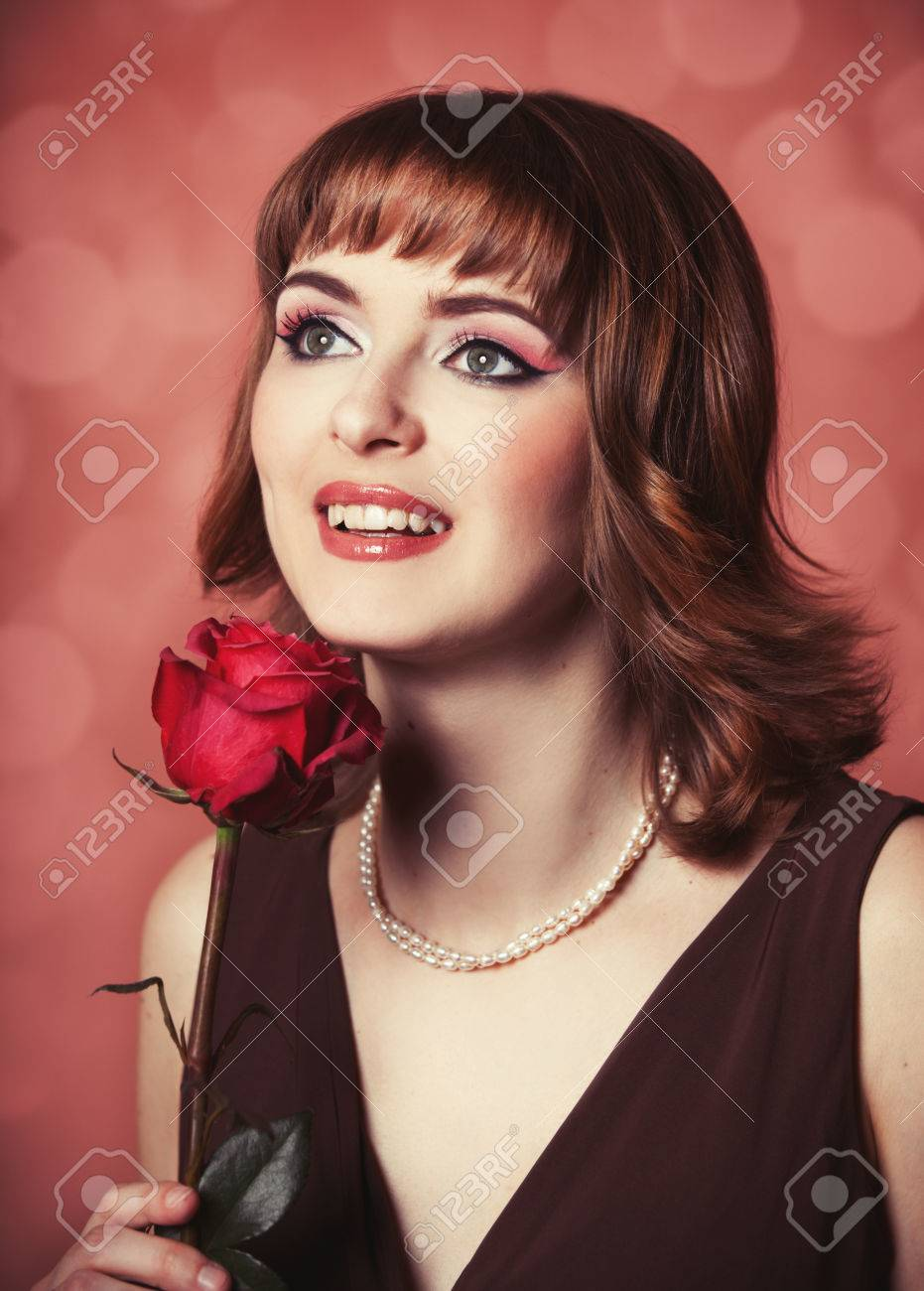 Portrait of a women with <b>rose. Photo</b> in 60s style. - 25430557-Portrait-of-a-women-with-rose-Photo-in-60s-style--Stock-Photo
