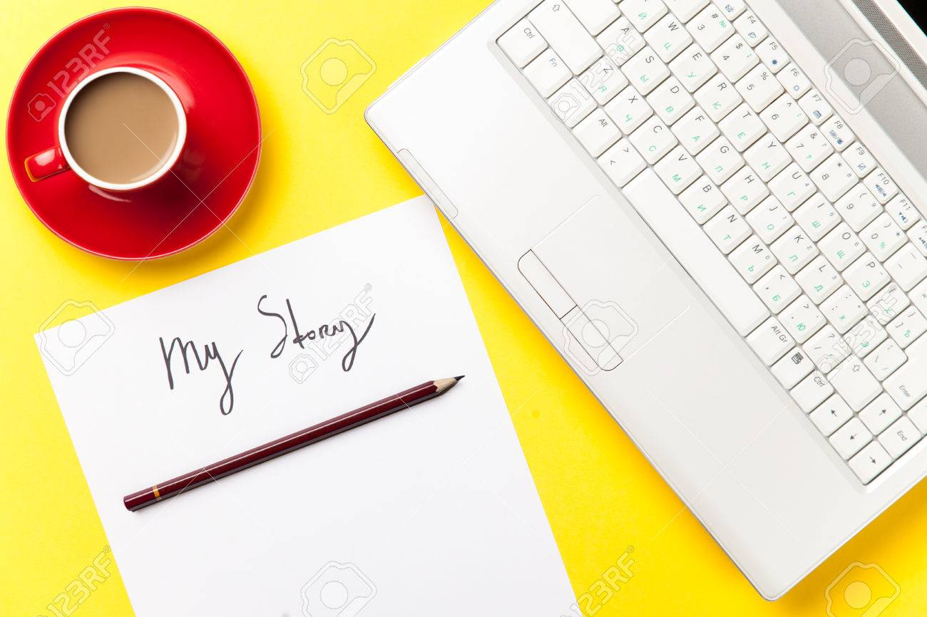 coffee and paper with My Story words near notebook on yellow background - 38248104