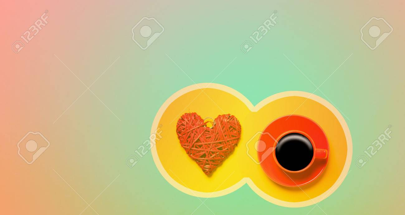 Background image overflow - Red Cup Of Coffee And Heart Shape In Cicrle On Overflow Colored Background Stock Photo