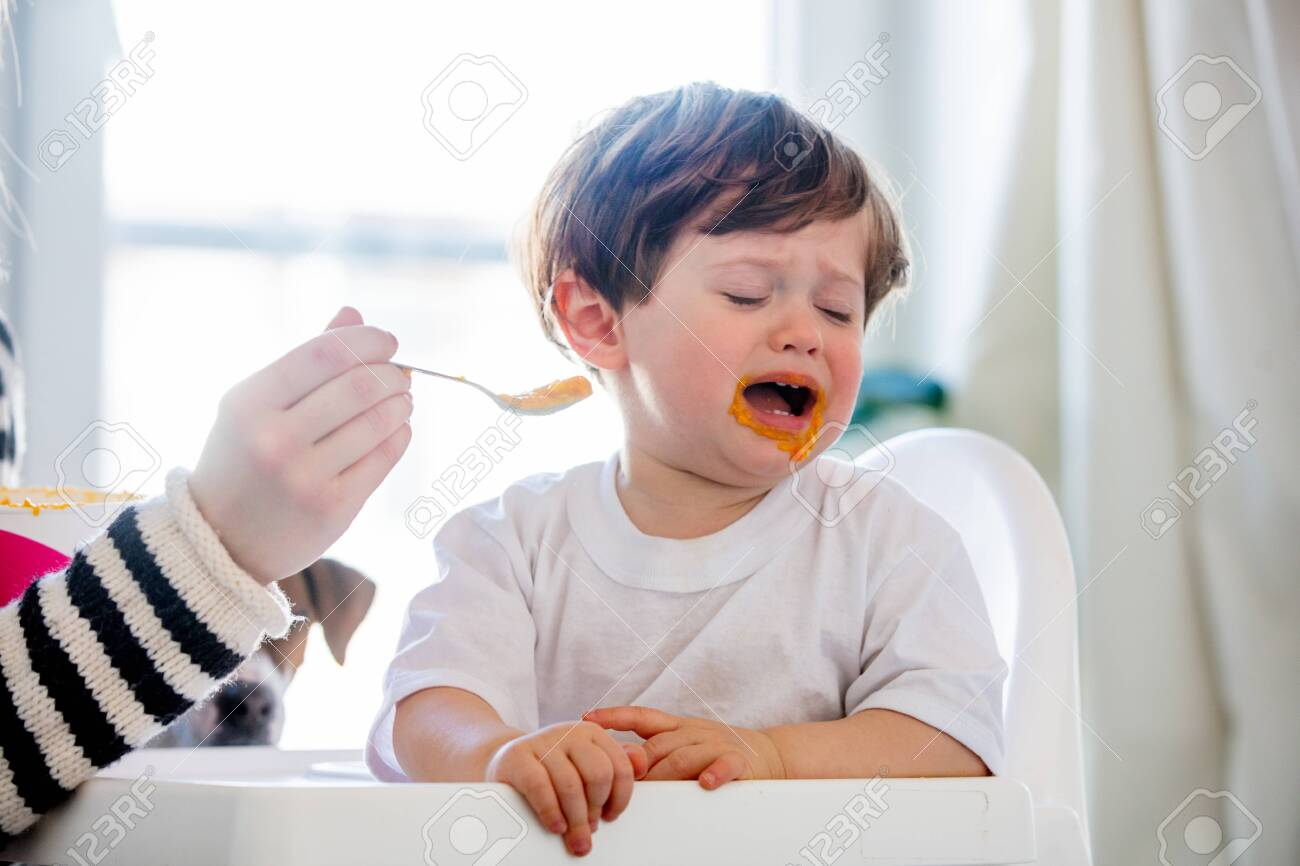 Young mother try to feeding a toddler boy with a spoon in a chair - 122806201