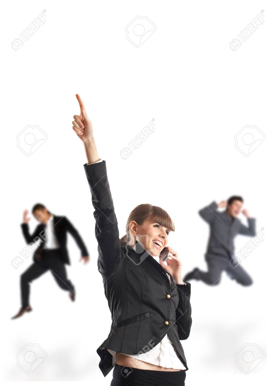 Great news - Businesswoman recieves great news on the phone Stock Photo - 1149414