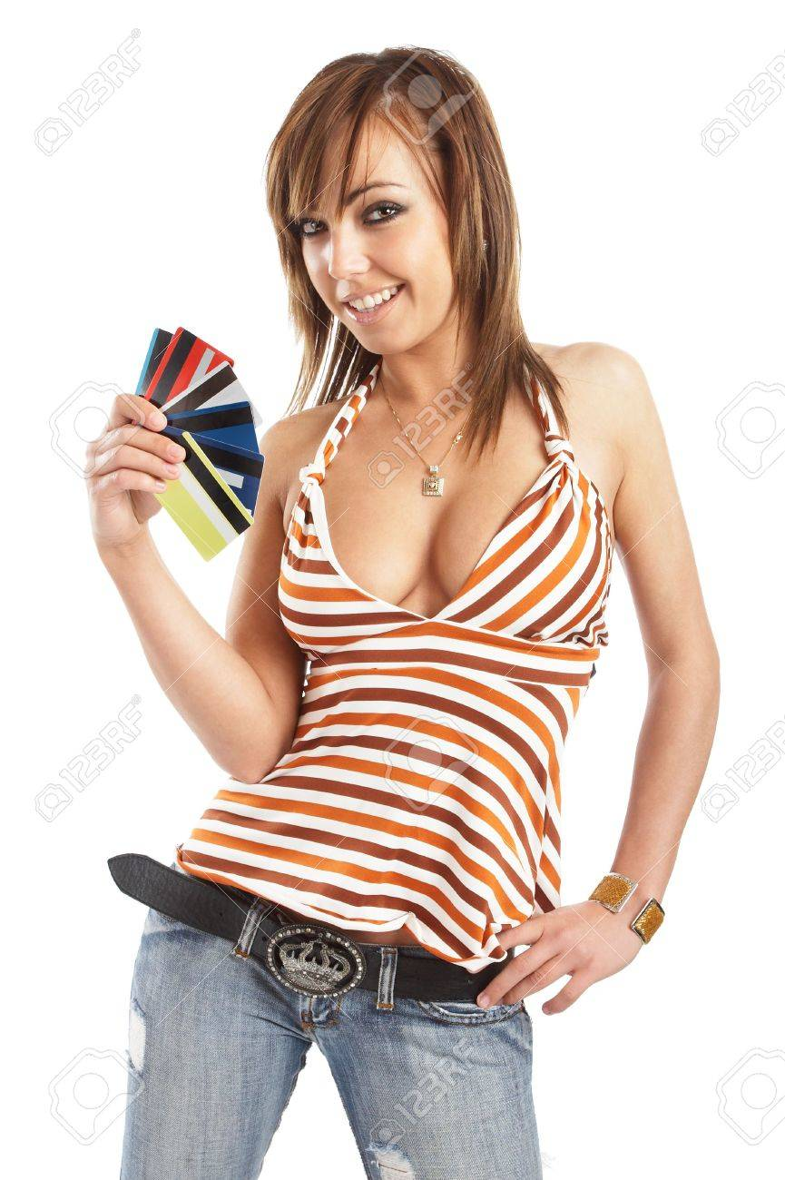 Beautiful Woman With Her Pile Of Credit Cards - Shopping Stock ...