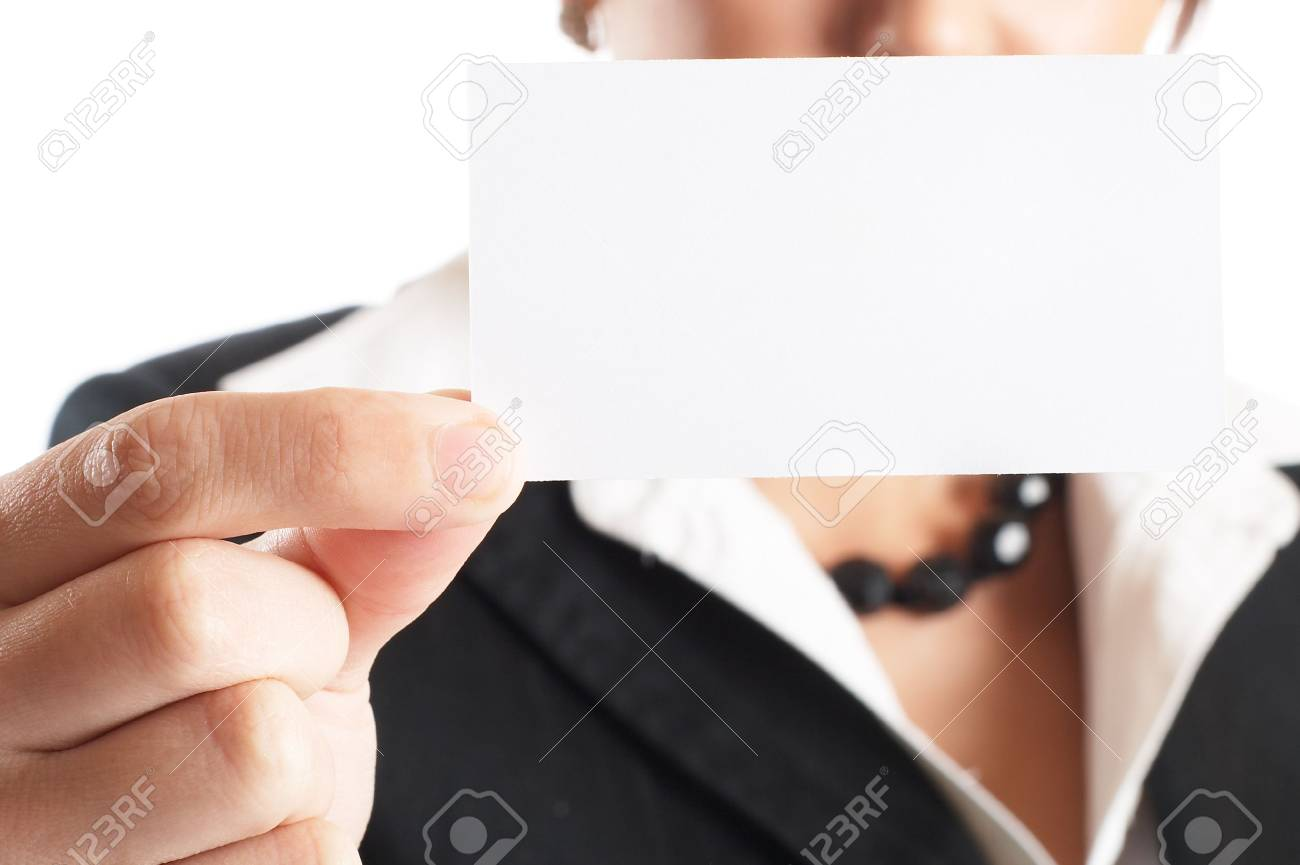 Attractive Businesswoman Closeup - presenting her business card Stock Photo - 1149428