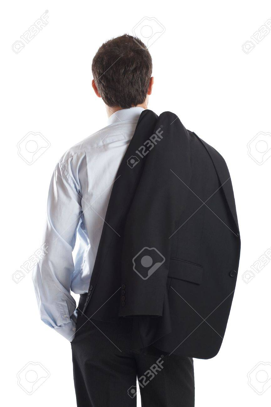Businessman shot from behind in studio isolated on white - just place it in your design - check my portfolio for more business photos Stock Photo - 1149483