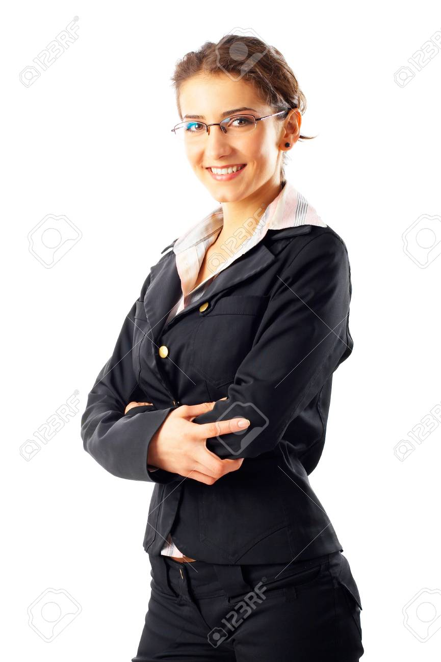 Portrait of a beautiful businesswoman, isolated on a white background Stock Photo - 4191913