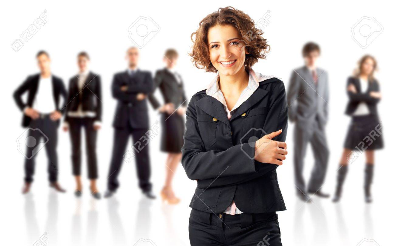 Leader and his team - Young attractive business people Stock Photo - 4373697