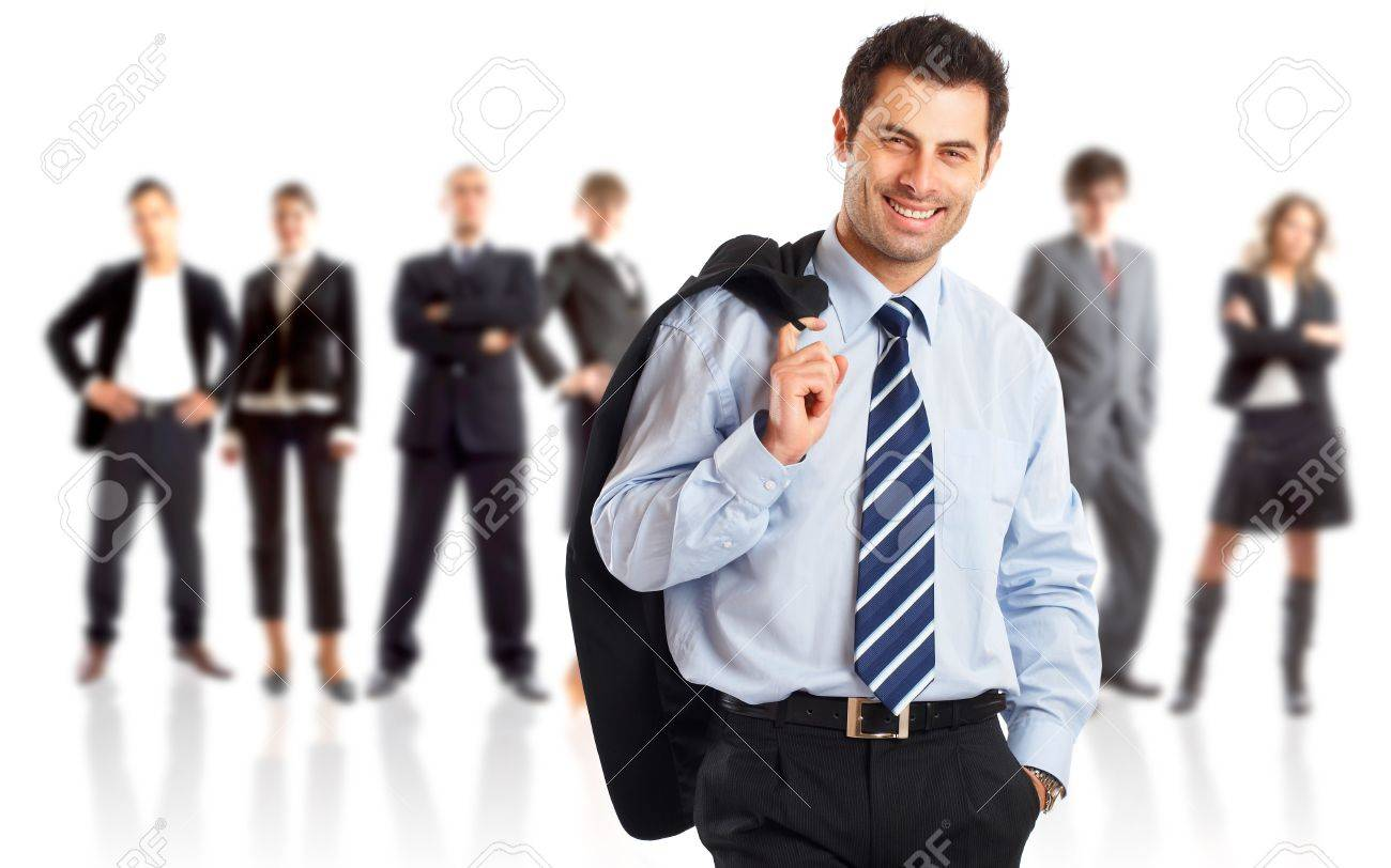 Leader and his team - Young attractive business people Stock Photo - 4544637