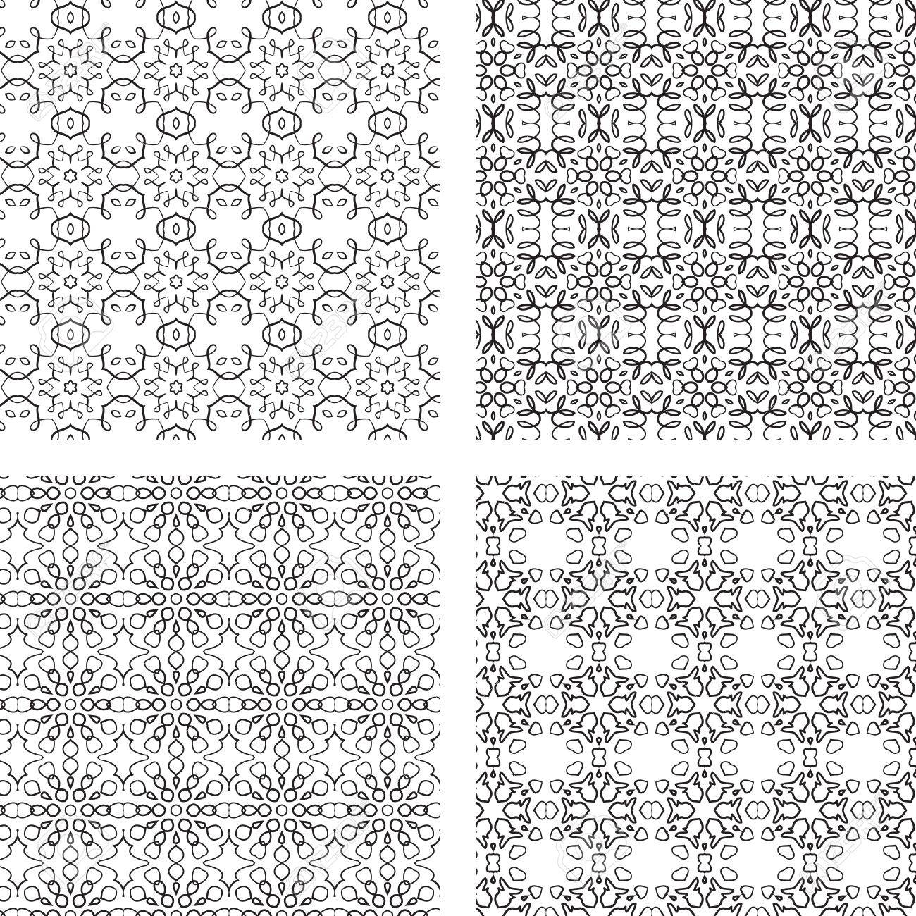 Black and white ornaments - Circular Ornaments Pattern Set Black And White Vector Seamless Stock Vector 21317813