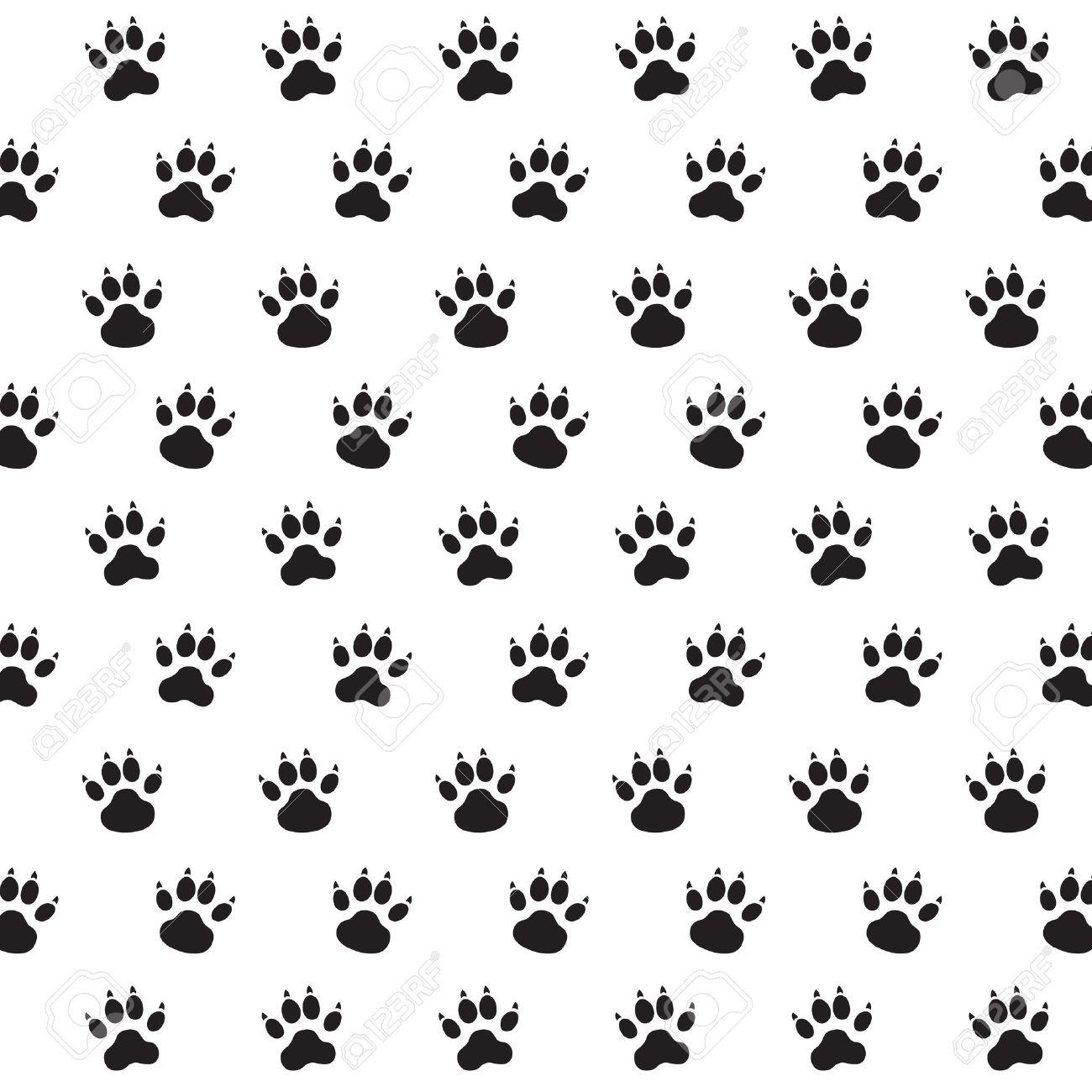 Las Huellas De Perro Blanco Y Negro Vector Patrón Ilustraciones