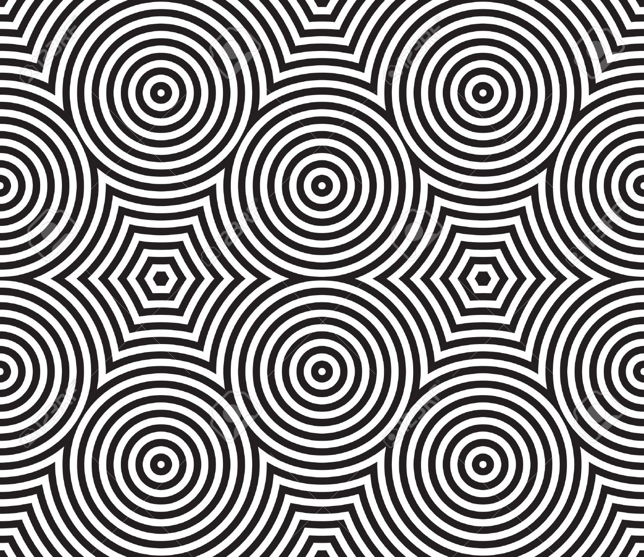 Black and White Psychedelic Circular Textile Patterns ??? Seamless Background Stock Photo - 25298932
