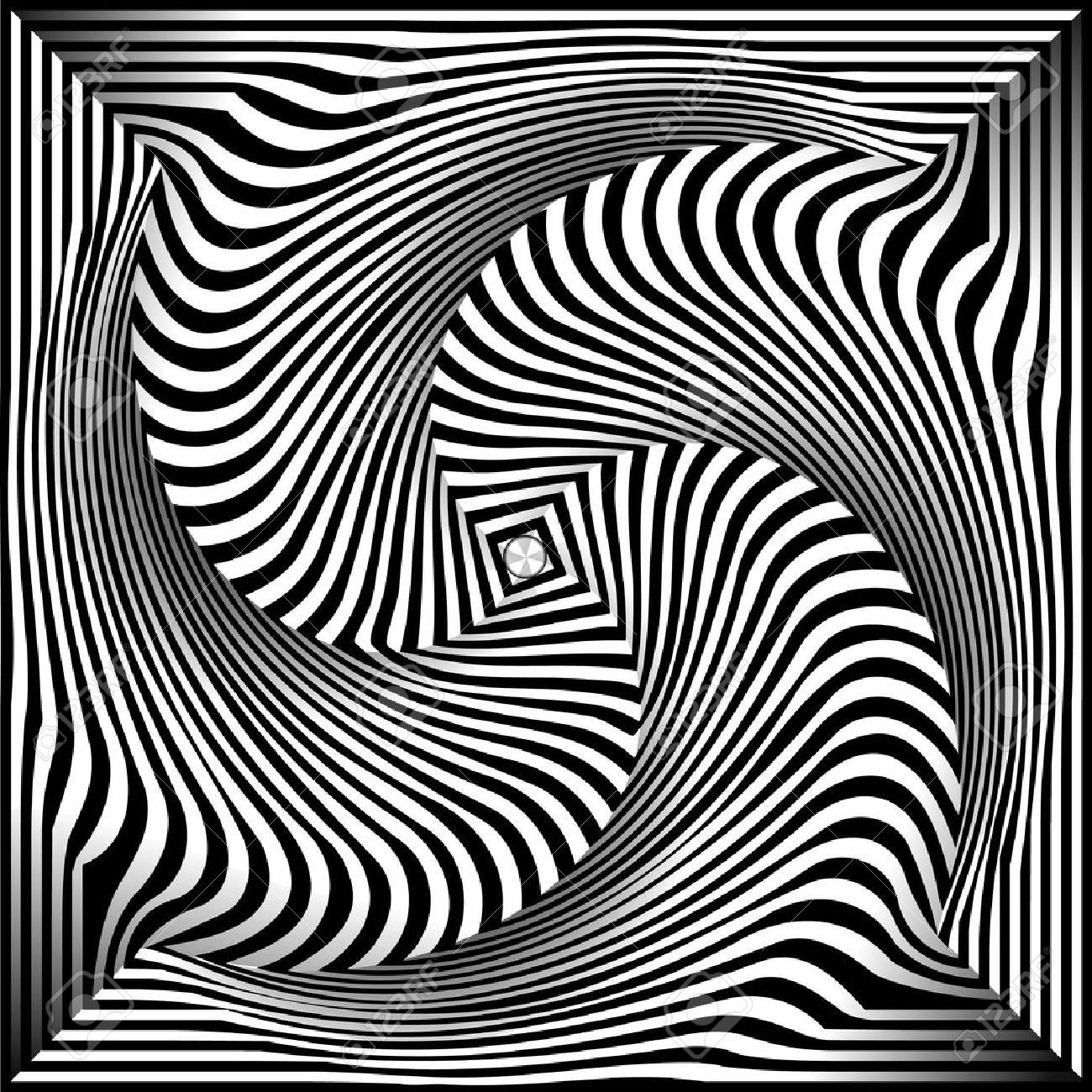 Spiral Optical Illusion - Abstract Black and White Opt Art Background Stock Vector - 25495653