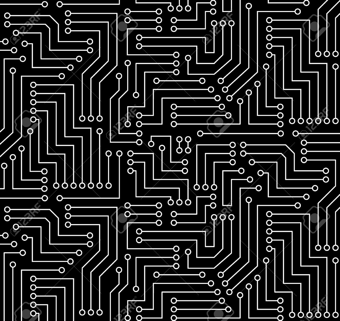 Black Circuit Printed Card And White Board Seamless With Pattern In