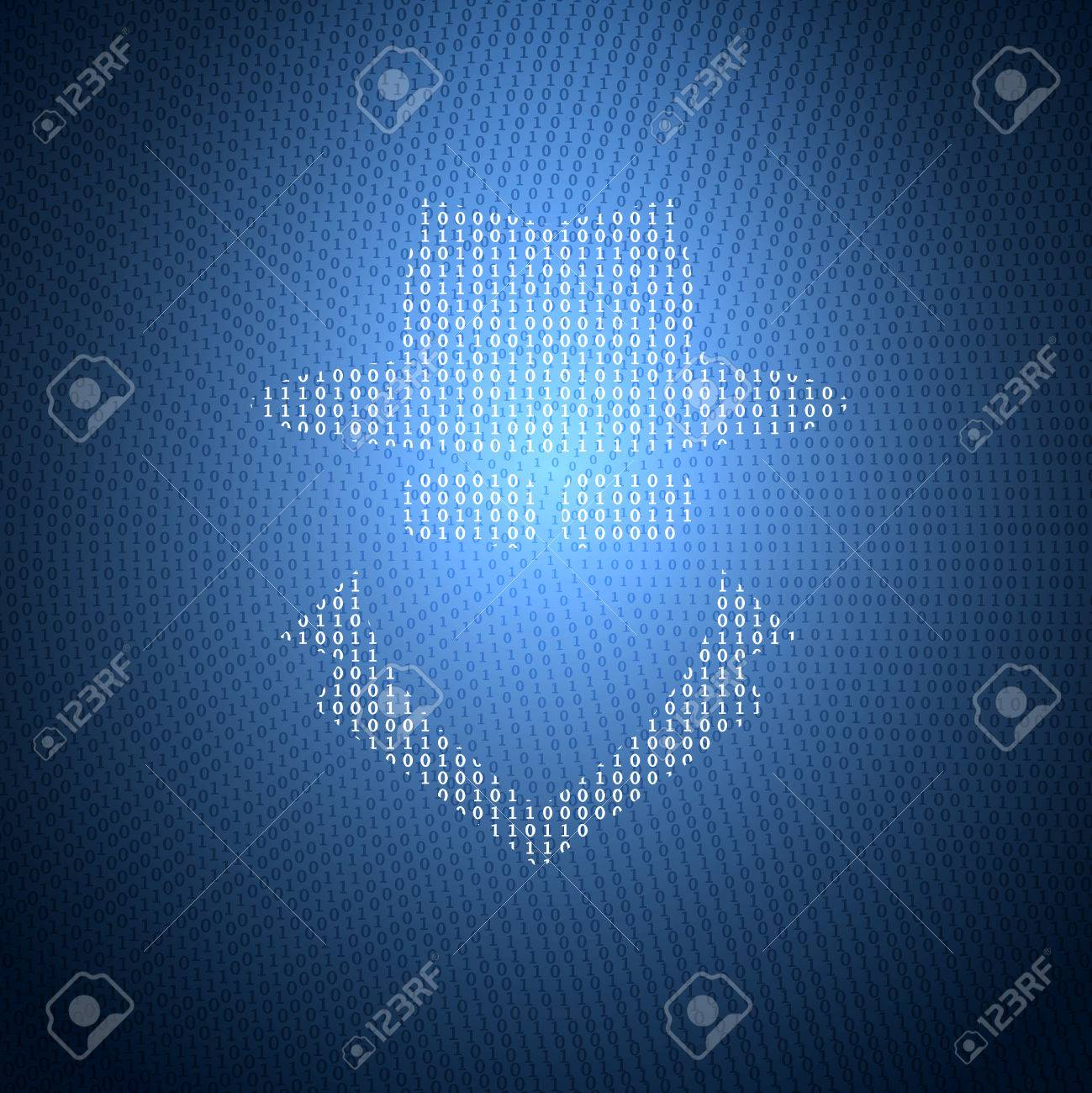 Glowing Symbol Of The Spy From A Binary Code On A Dark Blue ...