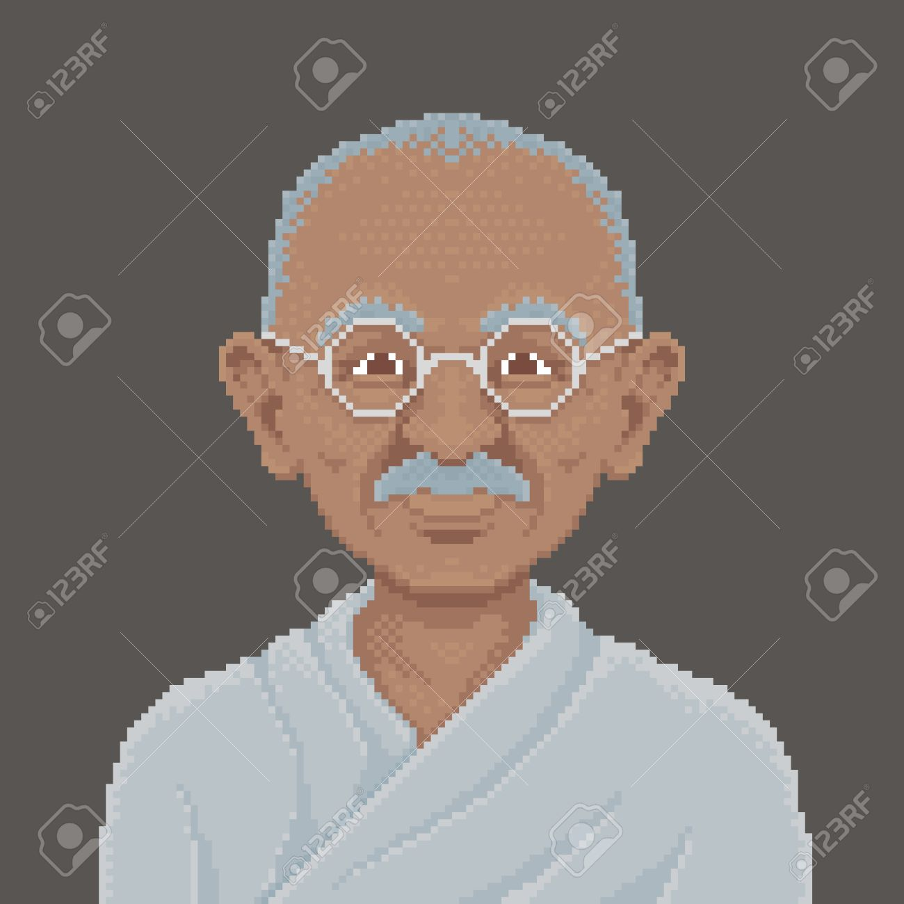 マハトマ ガンジー ピクセル アートの古典的な手法でイラストの漫画
