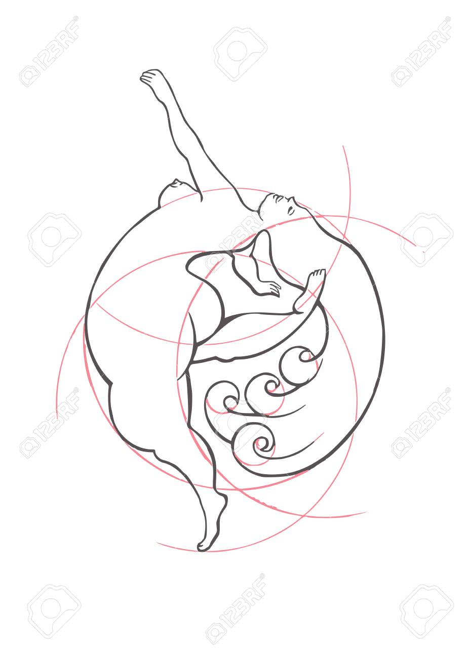 A conceptual image of a plump girl who takes her body as it is. Classic ink illustration in vector. - 120203898