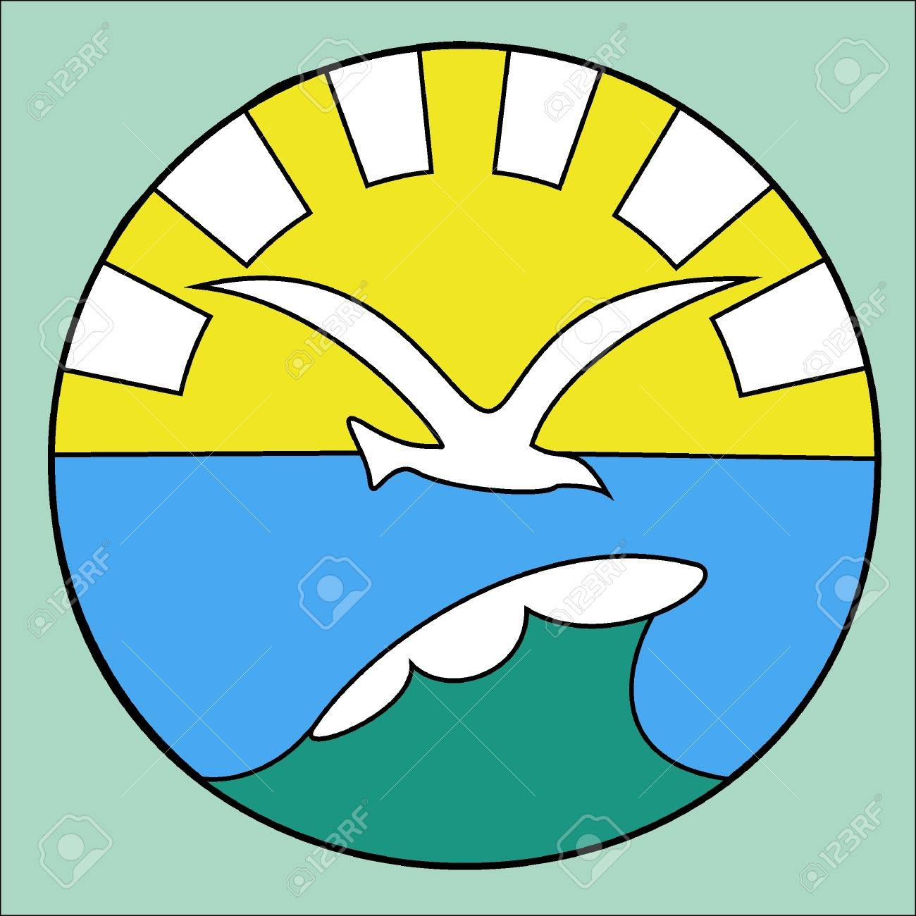 Symbol Of A Seagull Over A Sea Wave Against A Rising Sun Royalty
