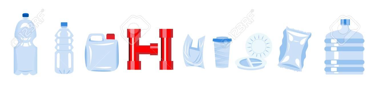 Set of plastic items. Plastic materials. Horizontal banner - 140494341