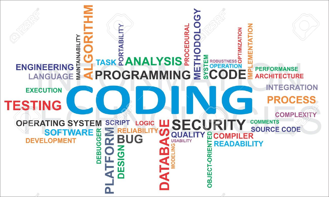 A word cloud of coding related items Stock Vector - 17584841