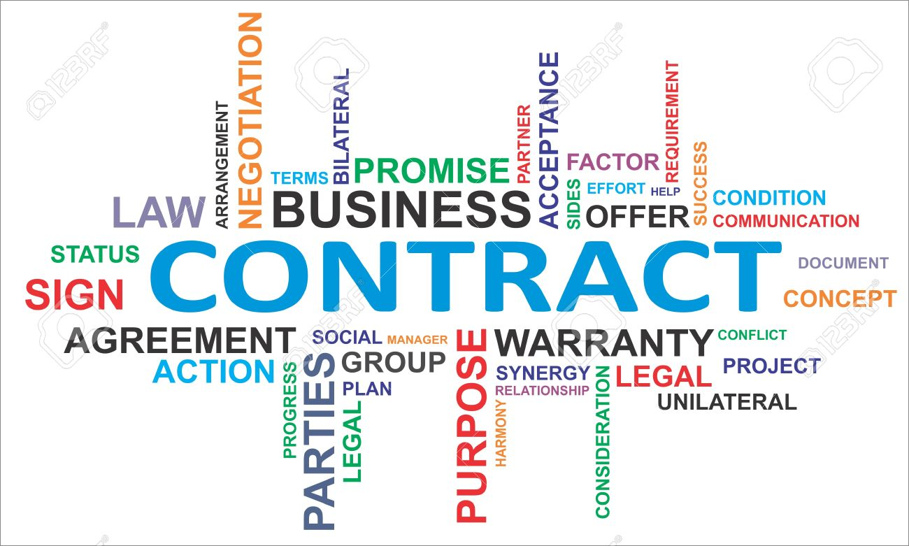 A Word Cloud Of Contract Related Items Royalty Free Cliparts ...