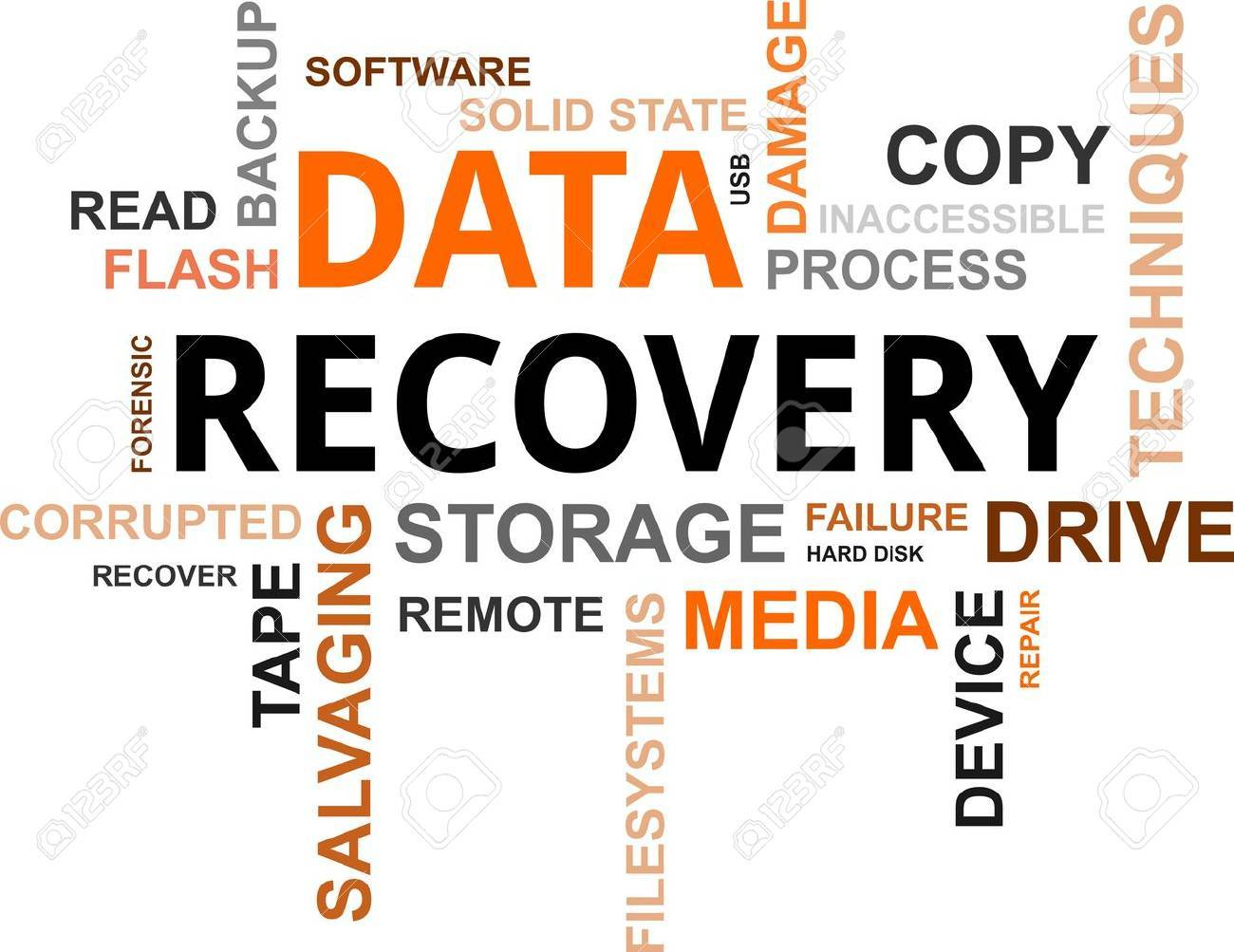 A word cloud of data recovery related items Stock Vector - 19666239