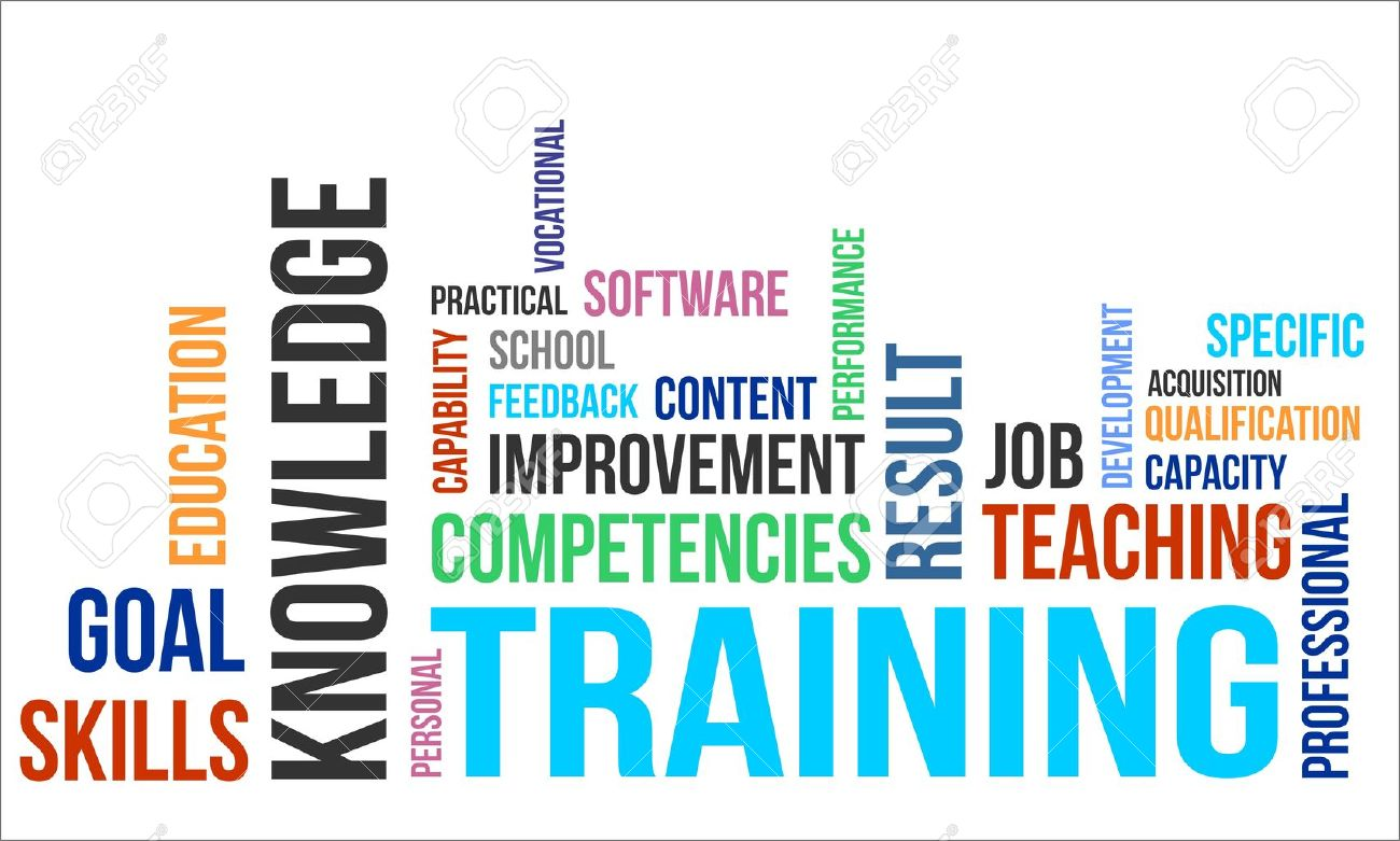 A word cloud of training related items - 20103436