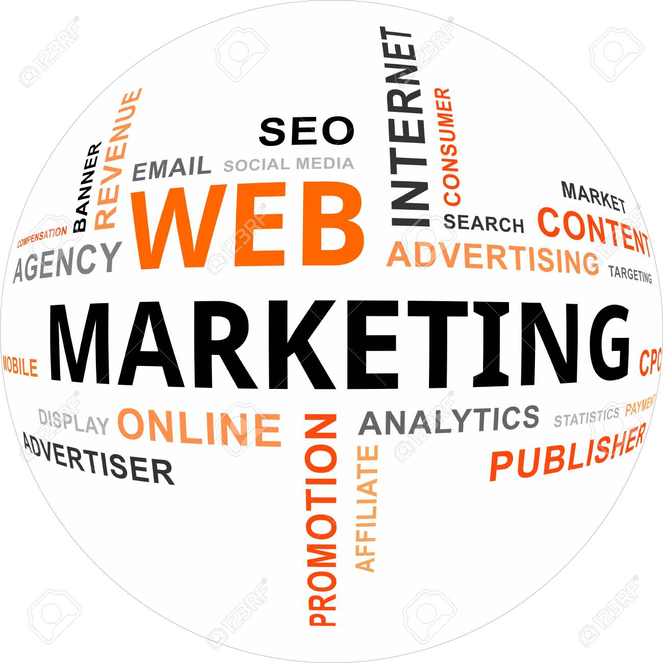 A word cloud of web marketing related items Stock Vector - 20745313