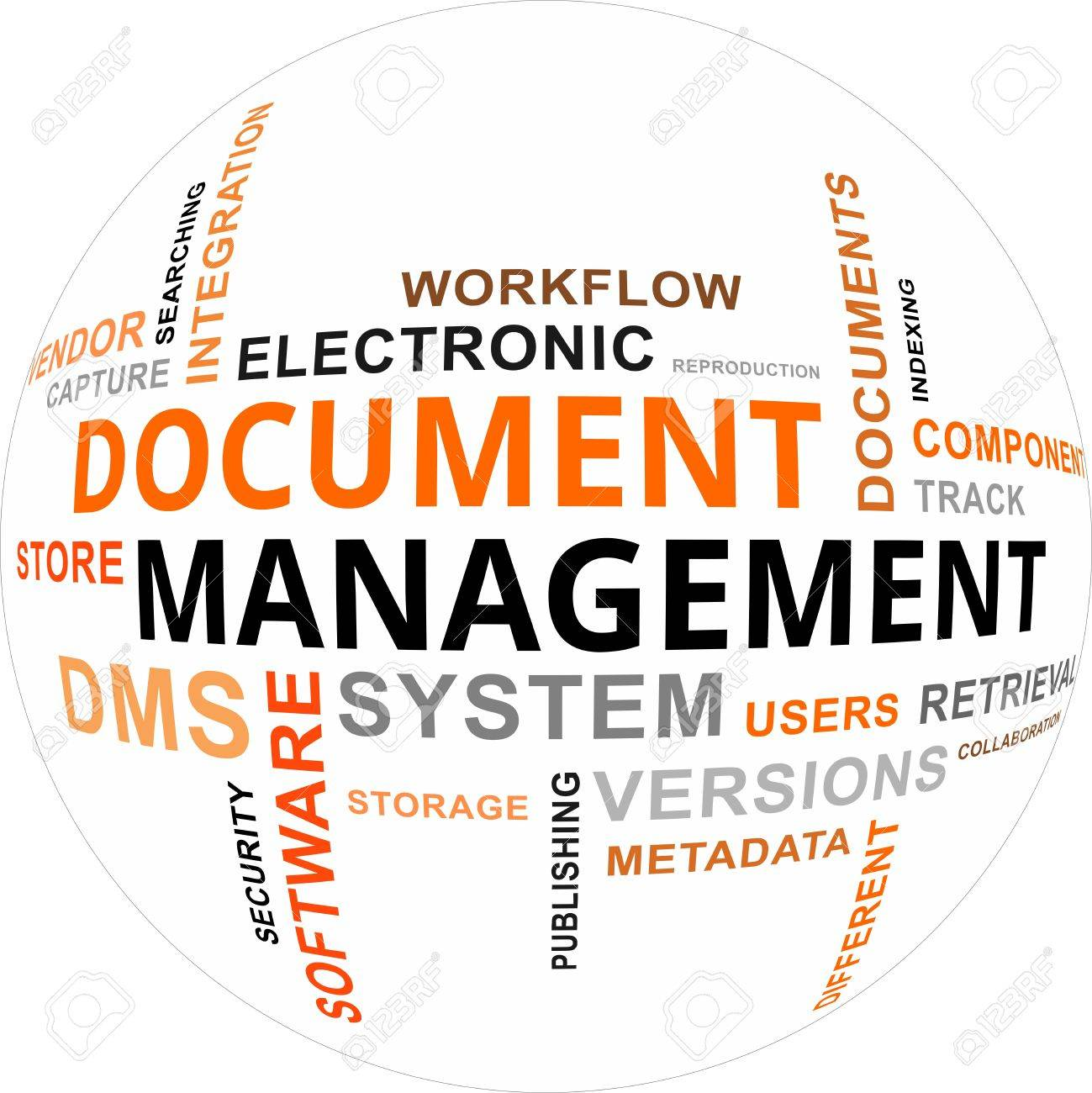 A word cloud of document management related items Stock Vector - 20883201