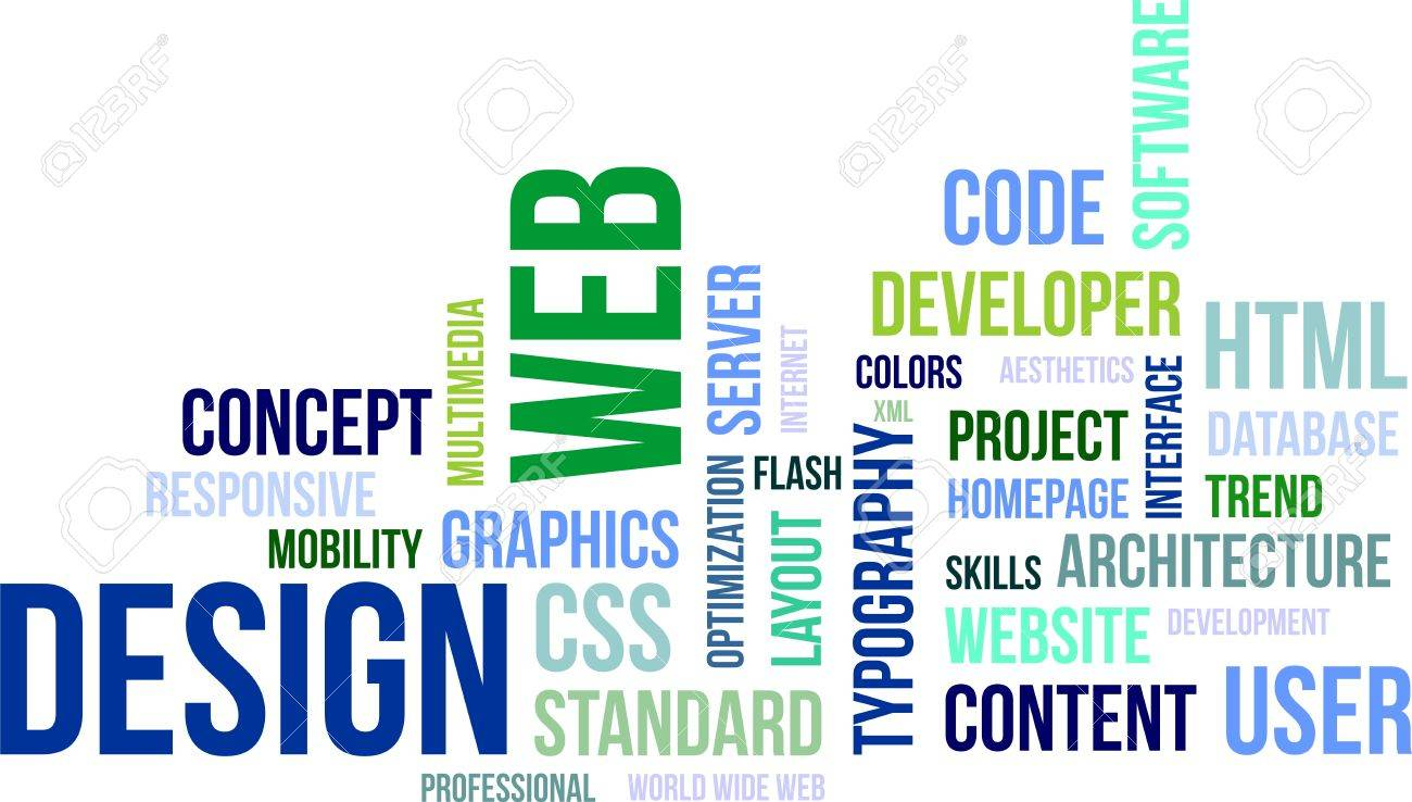 A word cloud of web design related items Stock Vector - 20883202