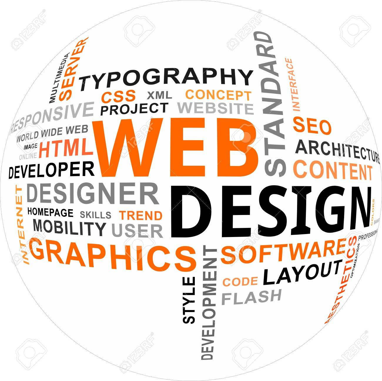 A word cloud of web design related items Stock Vector - 21005809