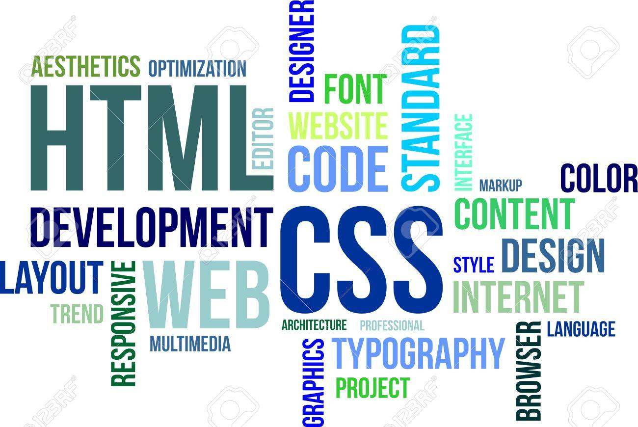 A word cloud of html and css related items Stock Vector - 21935142